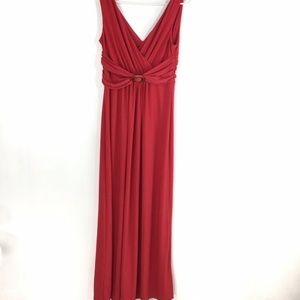 Chaps Dress Long Solid Red Empire VNeck Sleeveless